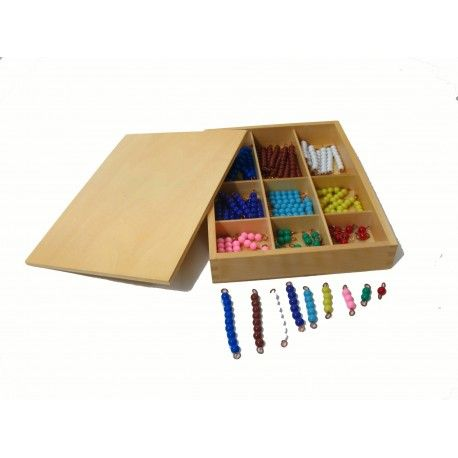 Montessori Koralky k barevne tabuli pro nasobeni vicecifernym cinitelem (10 sets)