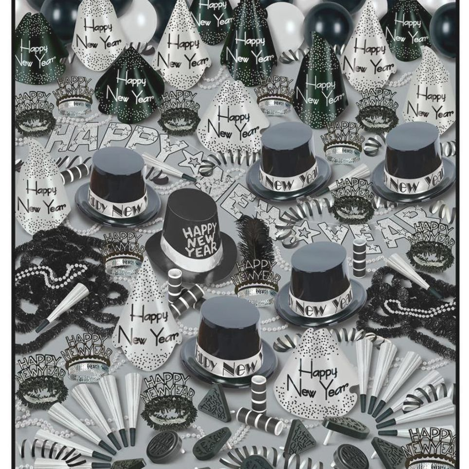 Silver Bonanza New Years Eve Party Kit For 100 In 2020 Party Kit New Years Eve Party Wholesale Party Supplies
