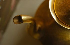 Spout; tea pot; goldware detail; Wyncote, Pennsylvania, USA.  November 2012.