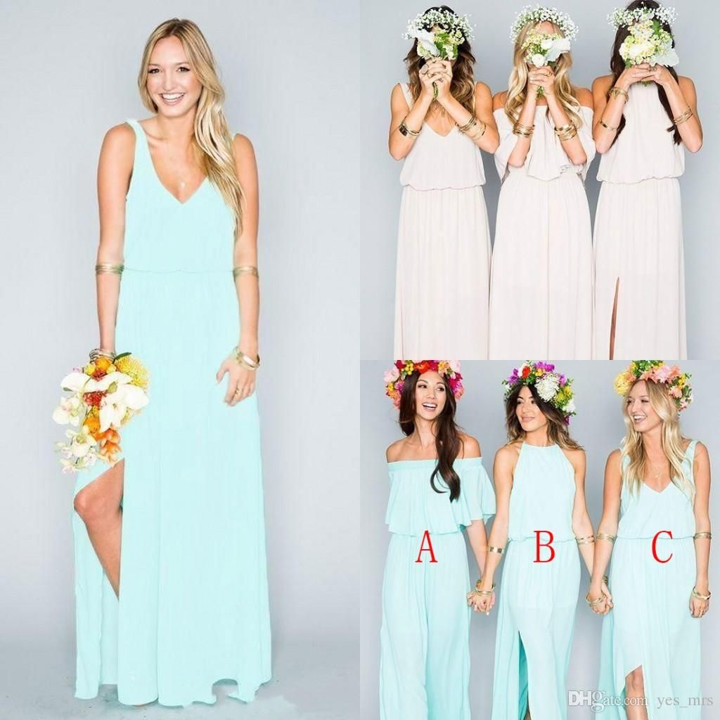 2016 bohemian bridesmaid dresses wedding guest wear v neck mint 2016 bohemian bridesmaid dresses wedding guest wear v neck mint green chiffon split long party beach boho plus size maid of honor gowns ombrellifo Images
