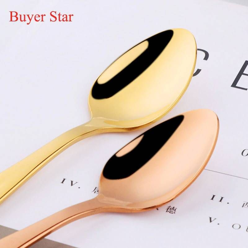 Gold Stainless Steel Soup Spoon Coffee Spoons Ice Cream Spoon Perfect for Home and Kitchen 5PCS Soup Spoon