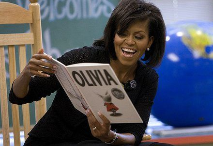 Michelle Obama Reading to Kids