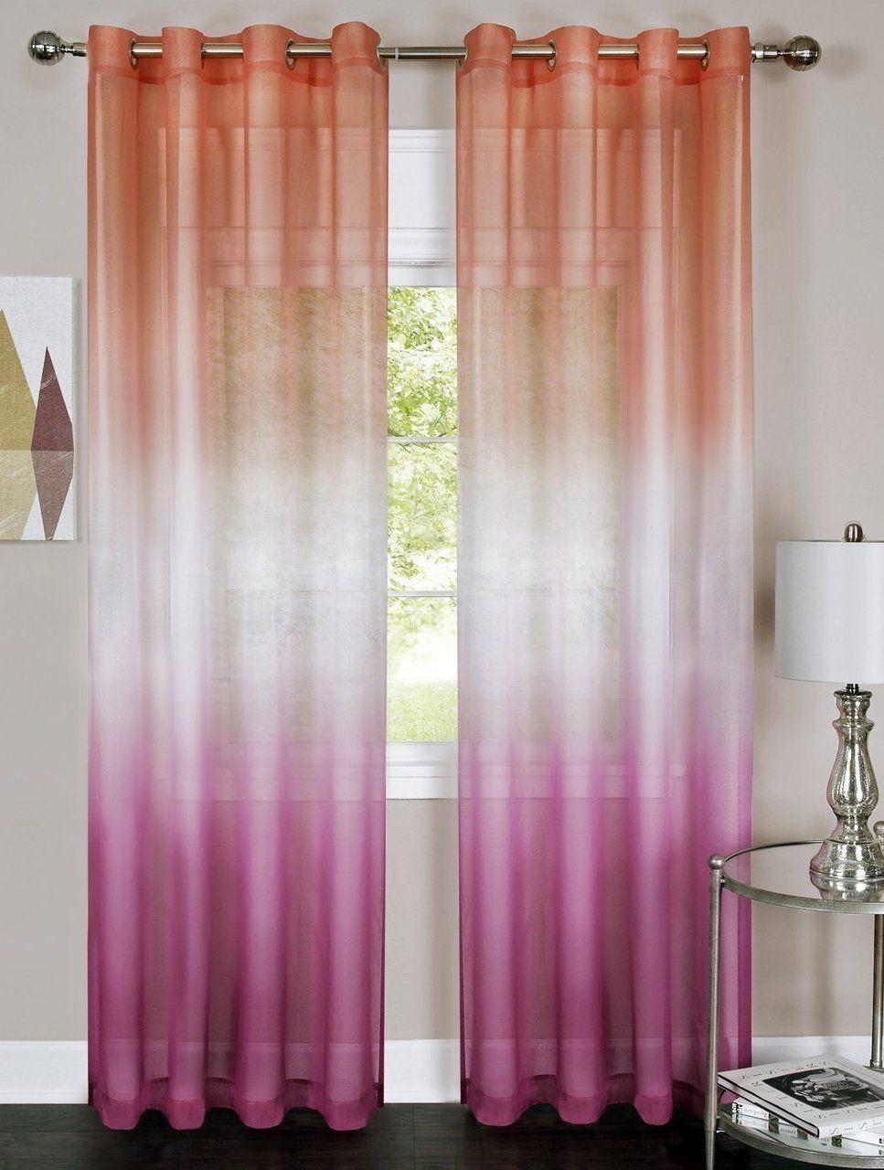Pink Orange 2 Piece Rainbow Ombre Printed Grommet Sheer Curtain