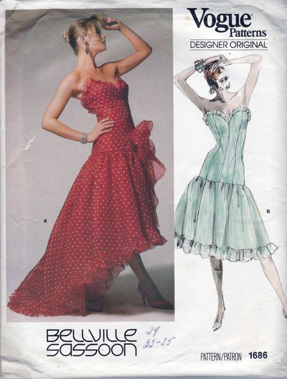 c3f2603f401 BELLVILLE SASSOON 80s Prom Dress Pattern by allthepreciousthings ...