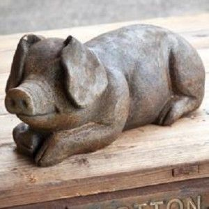 Vintage French Soul ~ Stone Pig | Pig Statue | Pig Figurine | Pig Garden  Statue
