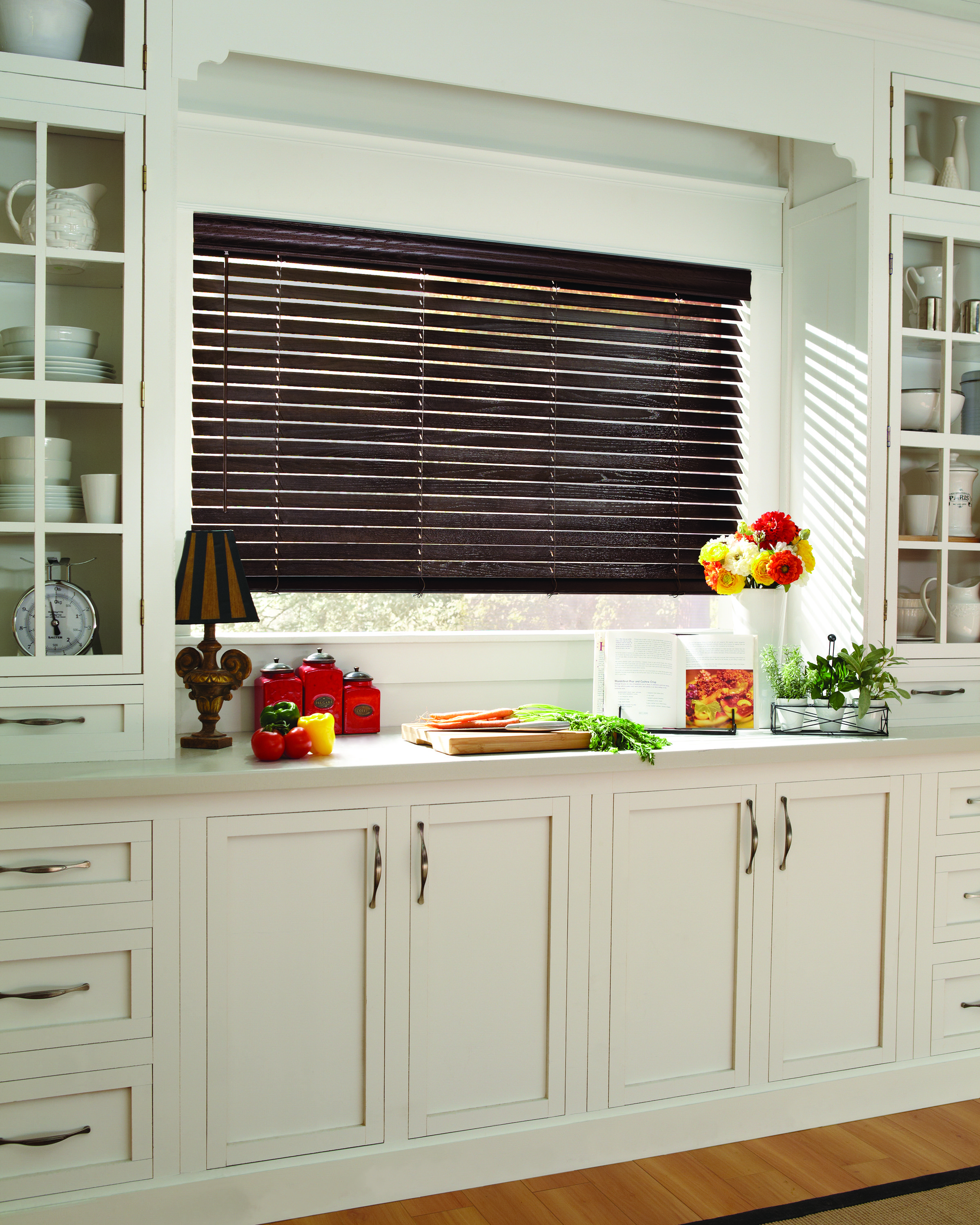 White Kitchen Blinds: Love The Contrast Of Dark Stained Wood Blinds Against The