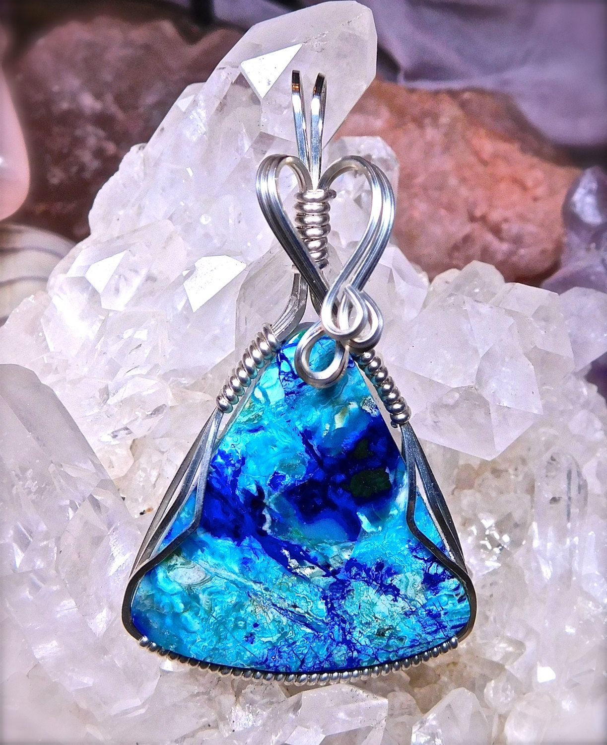 Wire wrapped bluebird chrysocolla pendant in argentium 935 silver wire wrapped bluebird chrysocolla pendant in argentium 935 silver healing gemstone chrysocolla wire wrap bluebird chrysocolla jewelry mozeypictures Images