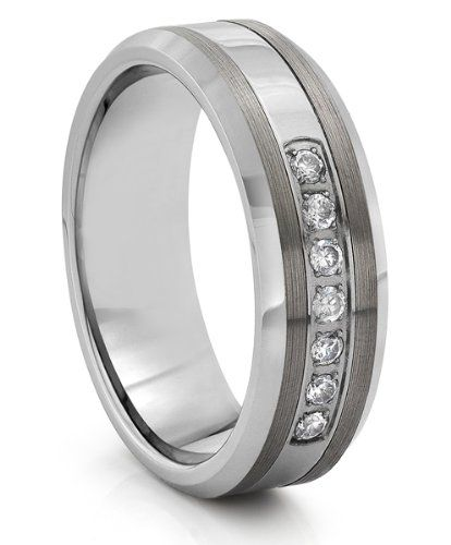 8MM Tungsten Carbide Silver Diamond CZ Mens Wedding Band Ring (Available Sizes 7-14 Including Half Sizes) (7) TWG Tungsten http://www.amazon.com/dp/B004UIOSQ0/ref=cm_sw_r_pi_dp_F0jKwb1E73Z5T