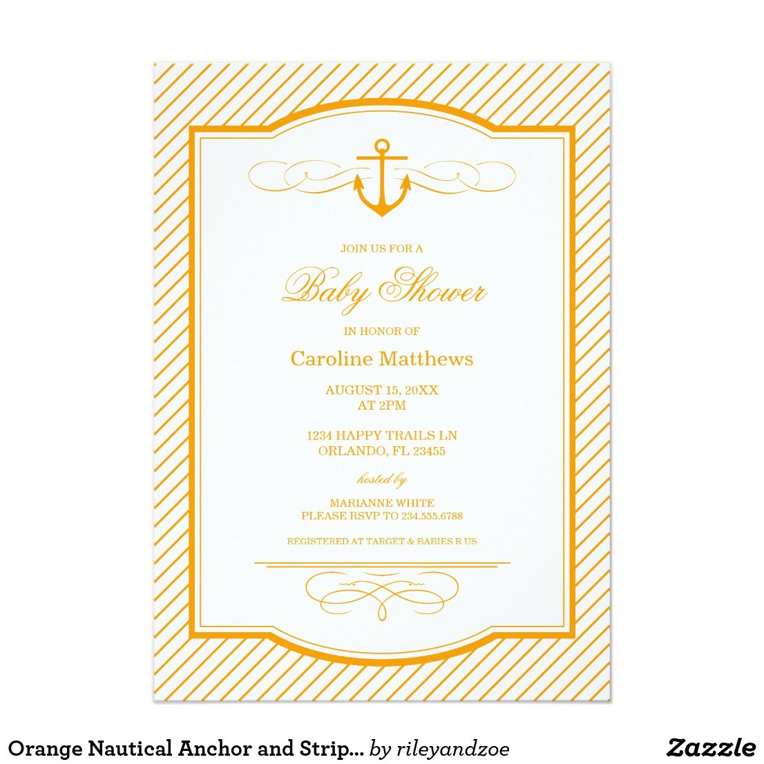 Orange Nautical Anchor And Stripes Baby Shower Card Preppy Modern