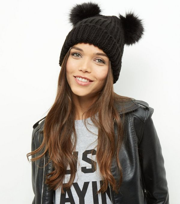 Black Double Faux Fur Pom Pom Beanie Hat | New Look