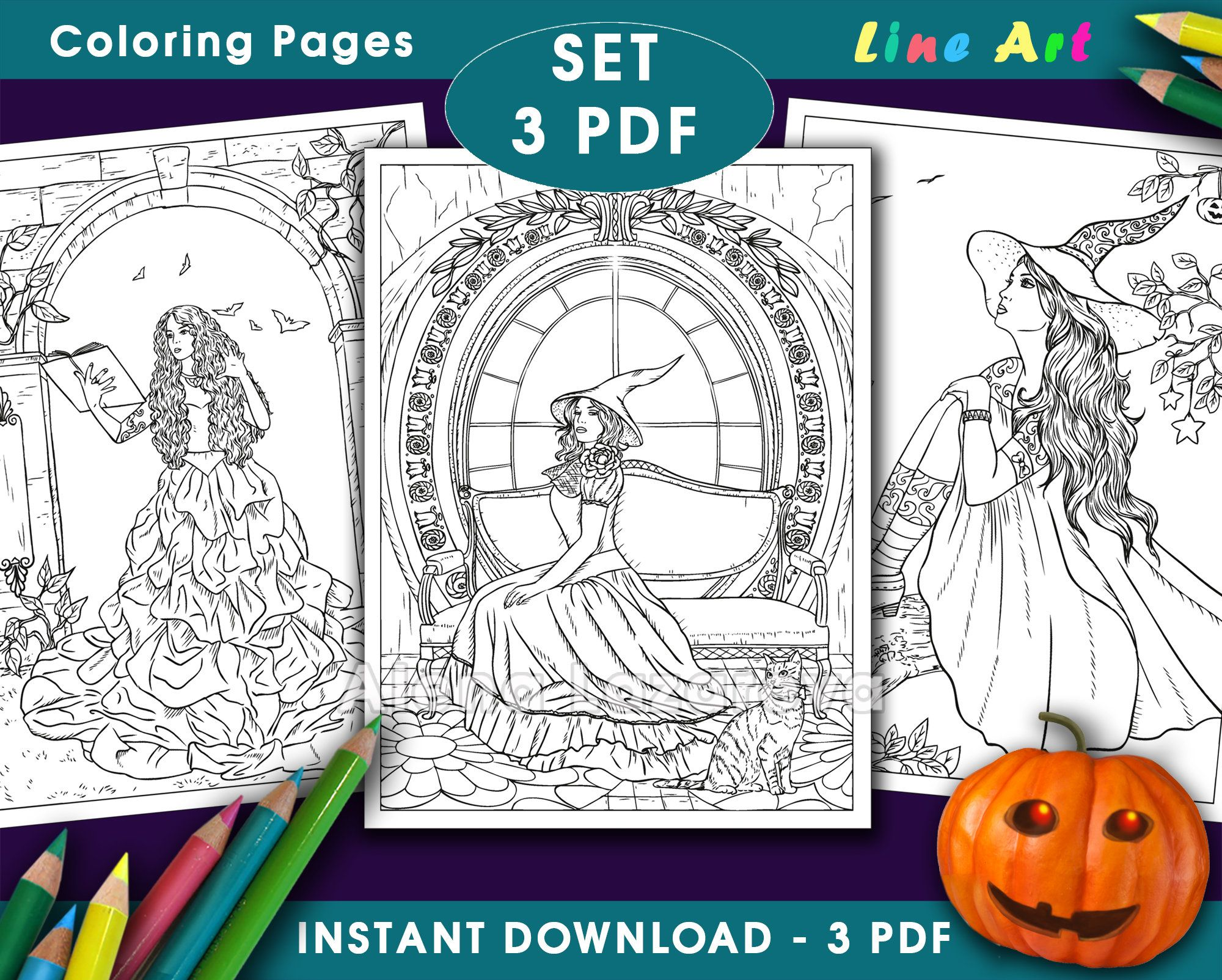 Coloring Pages Set 3 Pdf From Book 100 Line Art Part2 Etsy Coloring Pages Coloring Books Line Art
