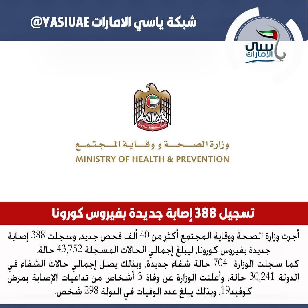 الإمارات تسجل 388 إصابة جديدة بفيروس كورونا و704 حالات شفاء و3 وفيات Prevention Health
