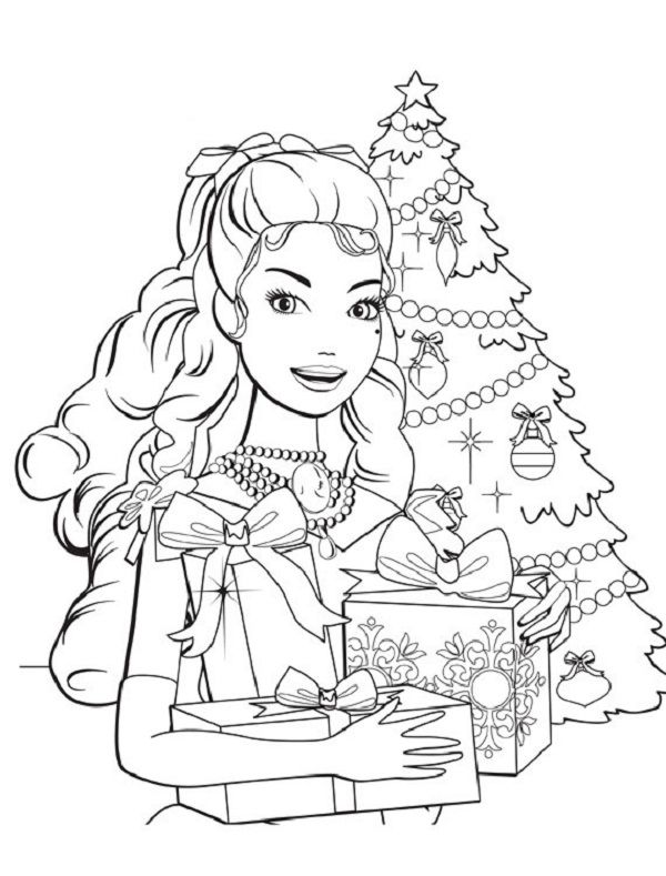 christmas coloring pages barbie coloring kids