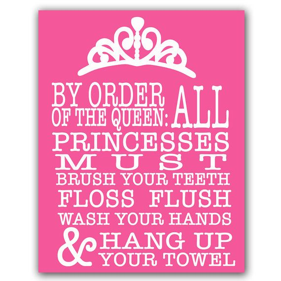 Pink girls bathroom wall art family rules printable art for Bathroom decor rules