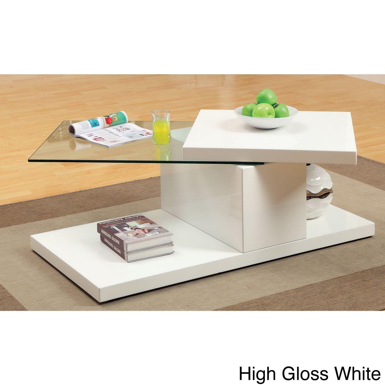 Furniture of America Vironte High-gloss Swivel-top Coffee Table (High Gloss White)