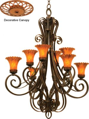 Light Chandelier In Antique Copper Finish With Blaze Glass With