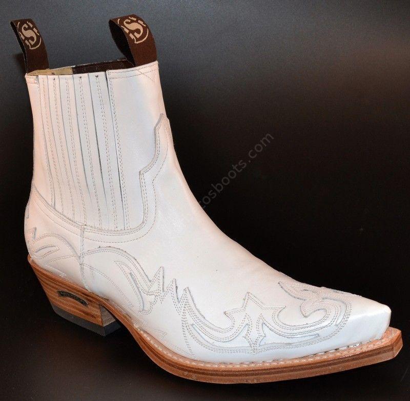 4660 Cuervo Napa Blanca   Botín cowboy Sendra cuero blanco