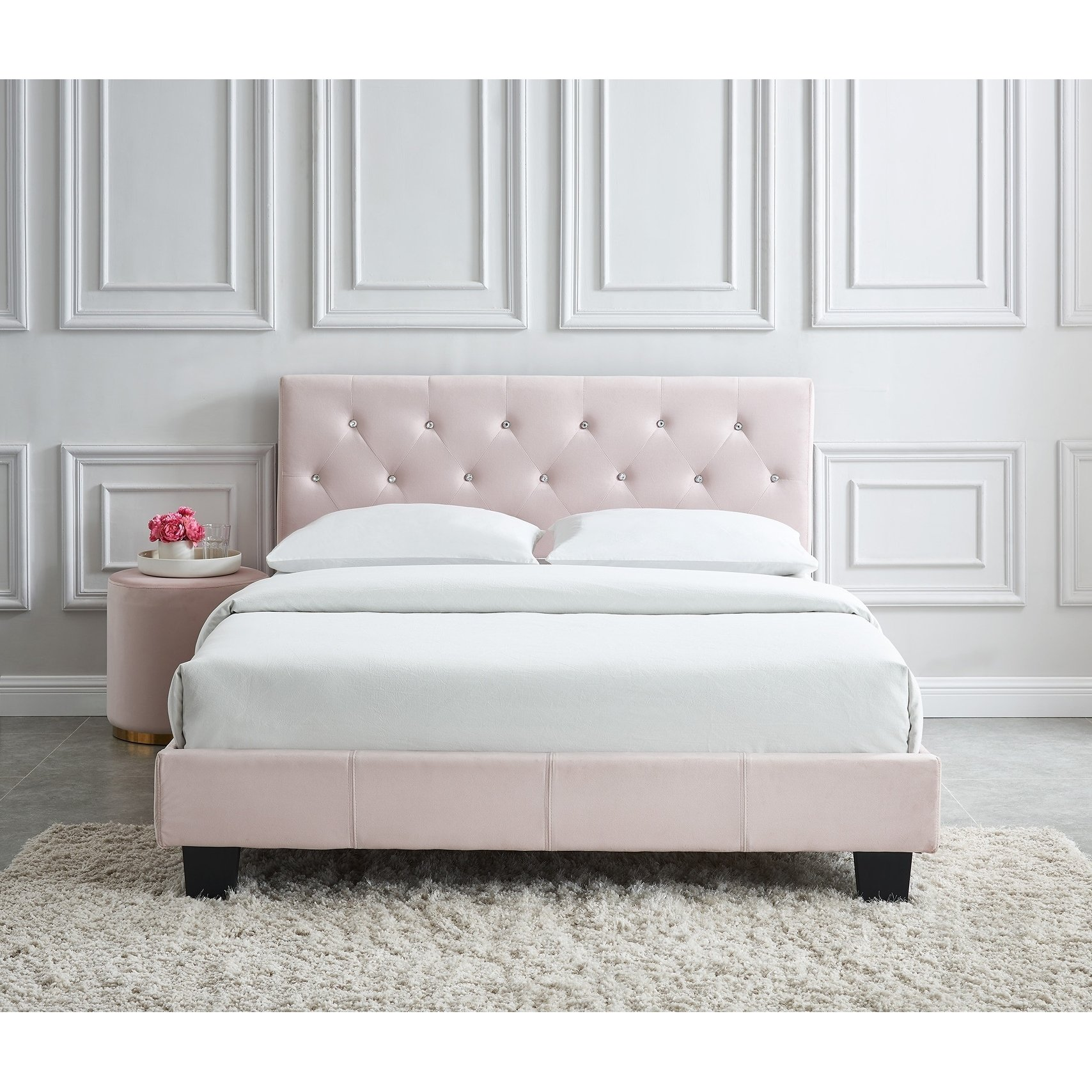 Jazelle Queen Velvet Crystal Tufted Platform Bed Pink Upholstered Platform Bed Furniture Bed Linen Design