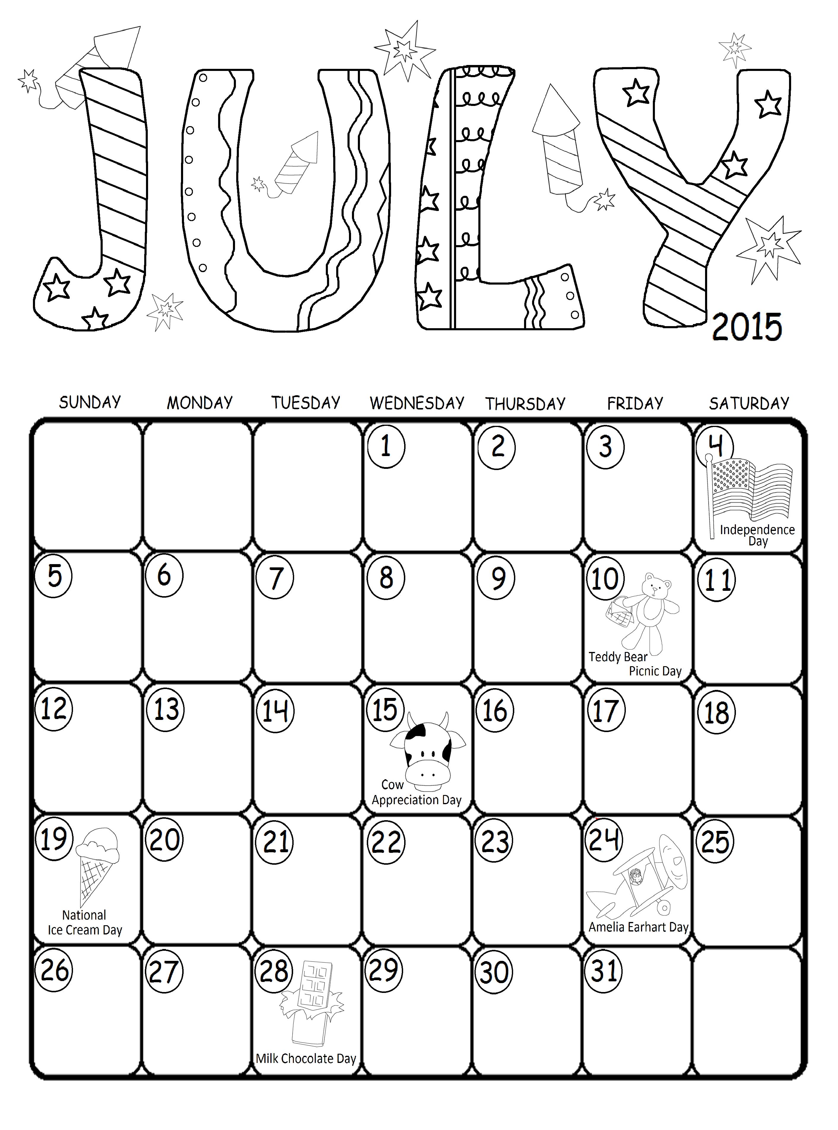July 2015 Calendar For Kids With Fun Holidays Free Printable Kids Calendar Toddler School Holiday Fun