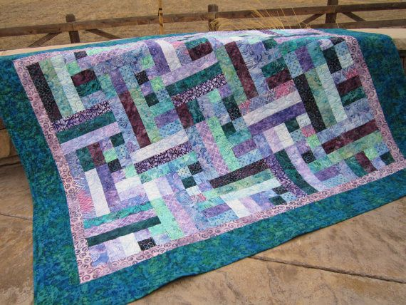 Teal and Purple Batik Handmade Quilt by PatchworkMountain on Etsy ... : batik patchwork quilt - Adamdwight.com