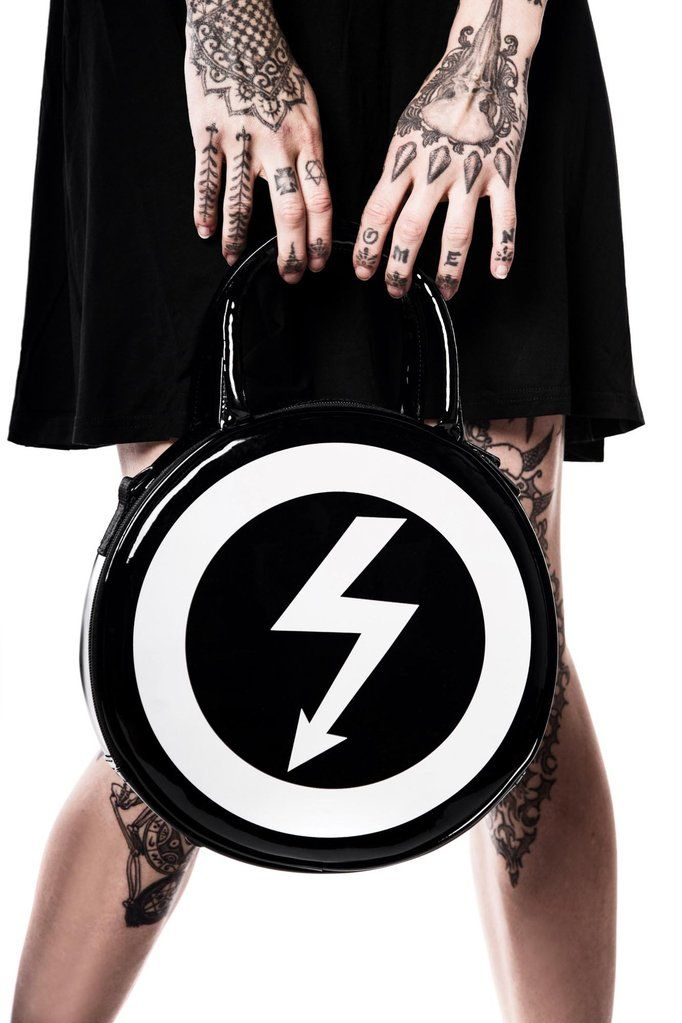 Model Holding Marilyn Manson Shock Symbol Full Of Venom Handbag From