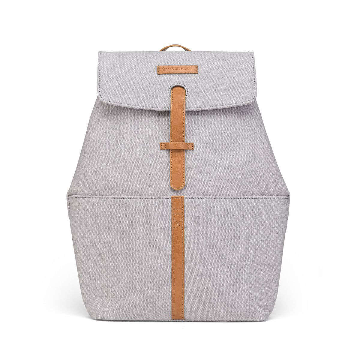 07eb948de907a Small grey backpack for women made of water-repellent canvas featuring  details made of vegan faux leather and a padded 14-inch laptop pocket. Shop  now!