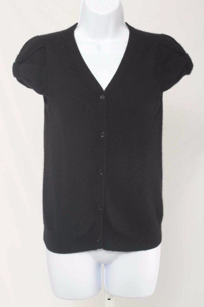 Kate Spade Size XS Black Cashmere Short Sleeve Cardigan Sweater ...