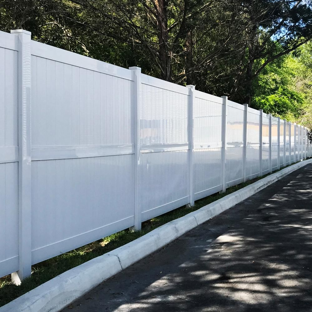 Weatherables Augusta 8 Ft H X 8 Ft W White Vinyl Privacy Fence Panel Kit Pwpr 3r 8x8 The Home Depot In 2020 Vinyl Privacy Fence Privacy Fence Panels Fence Panels