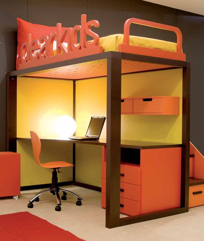 Great Design And Neat Idea For A Side Railing! Modern Design For Kids Study  Desk And Bunk Beds In Yellow Orange