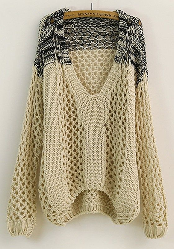 Beige Patchwork Hollow-out V-neck Loose Thick Cotton Sweater ...