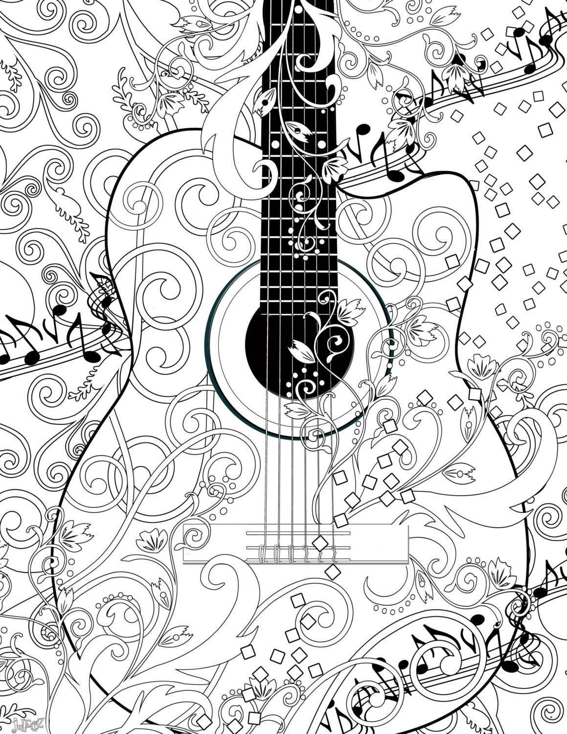 coloring page printable guitar free by juleezgallery