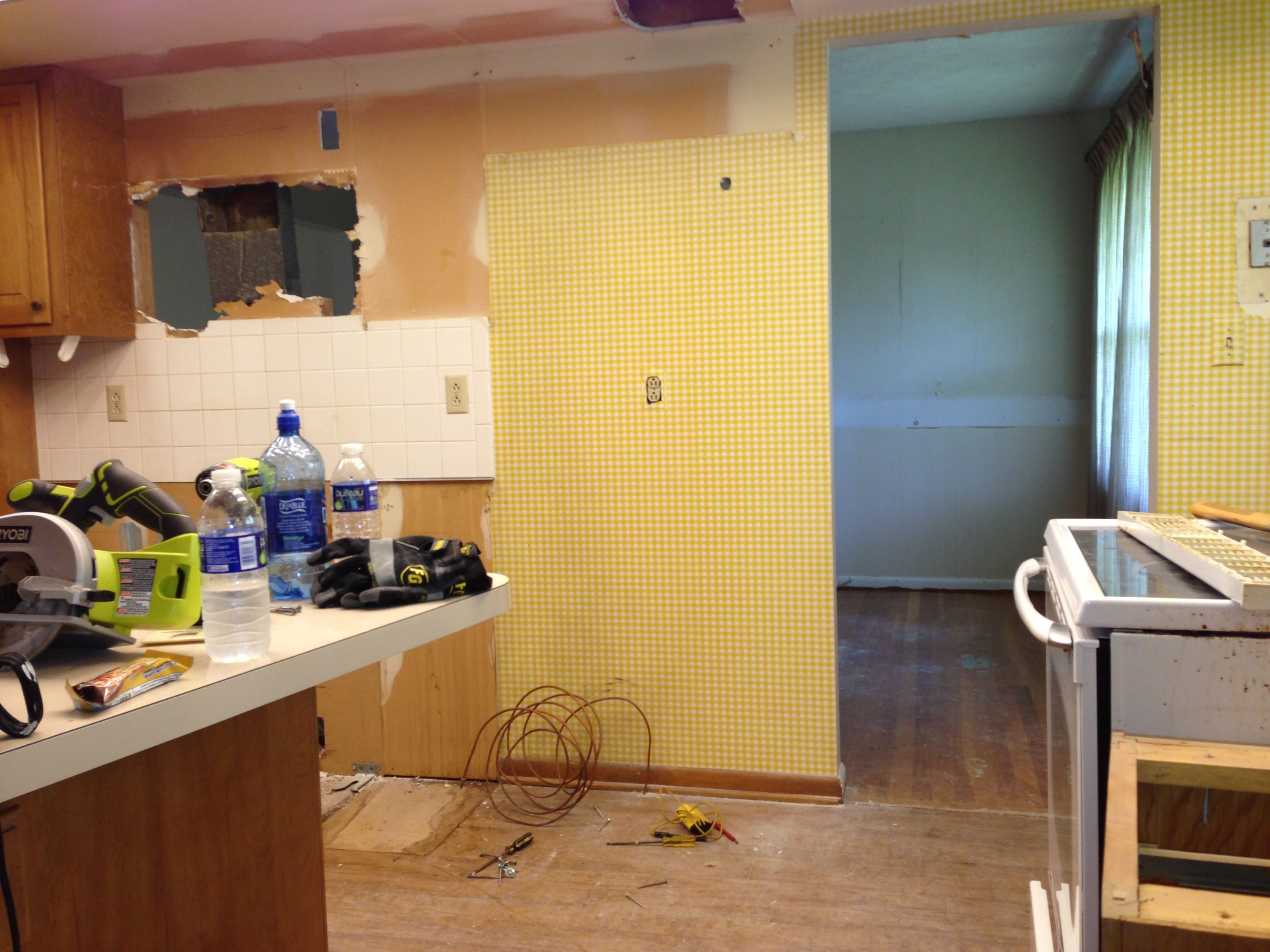 Initial Start Of Kitchen Demolition. Notice Through The Doorway Leading To  The Dining Room Original