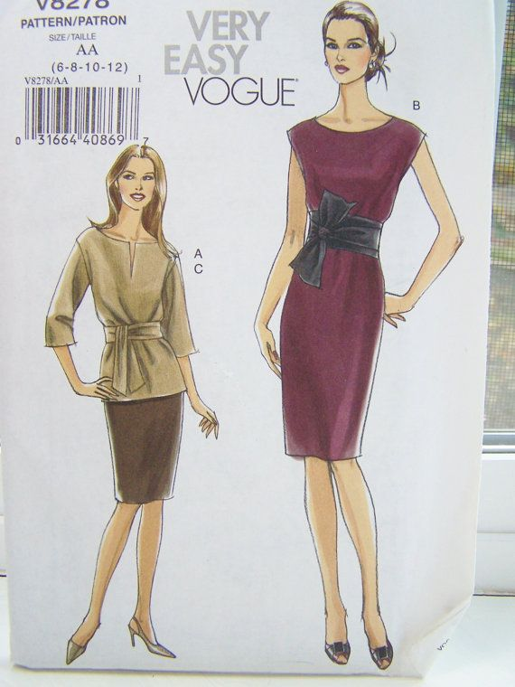 Vogue V8278 Sewing Pattern, Misses\' Top, Dress with Sash, Straight ...