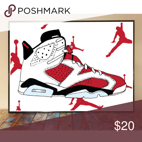 11x17 Air Jordan 6 Carmine Sneaker Art Print Art Prints Print Carmine