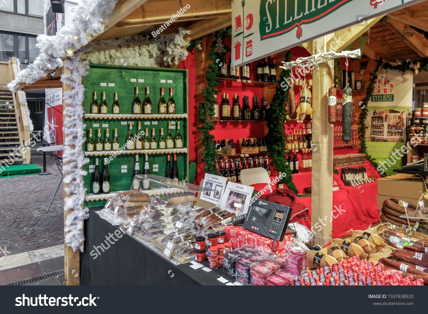 Budapest Hungary December 09 2019 Christmas Market With Food Drinks Stand Festive Decorations Along In 2020 Christmas Stock Photos Food Stand Design Food Stands