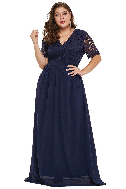 Blaues Maxi-Kleid mit Spitzen-/Chiffon-Overlay  Maxi kleider
