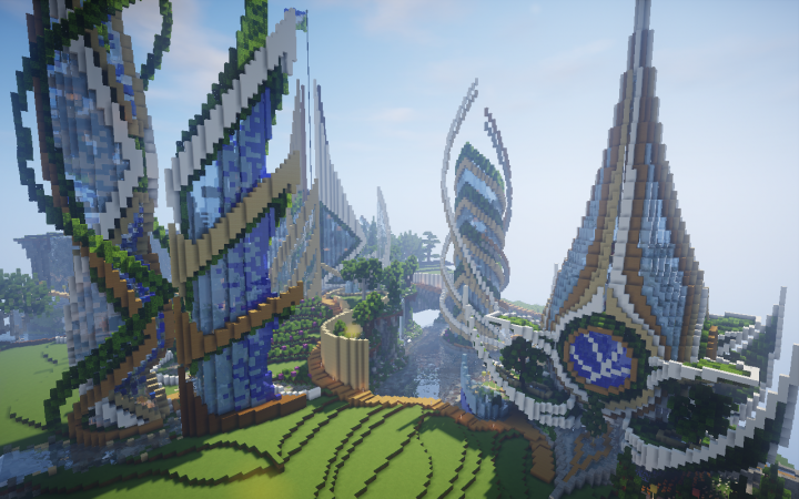 Ender An Ecological Futuristic City Minecraft Map Minecraft Projects Futuristic City Minecraft City