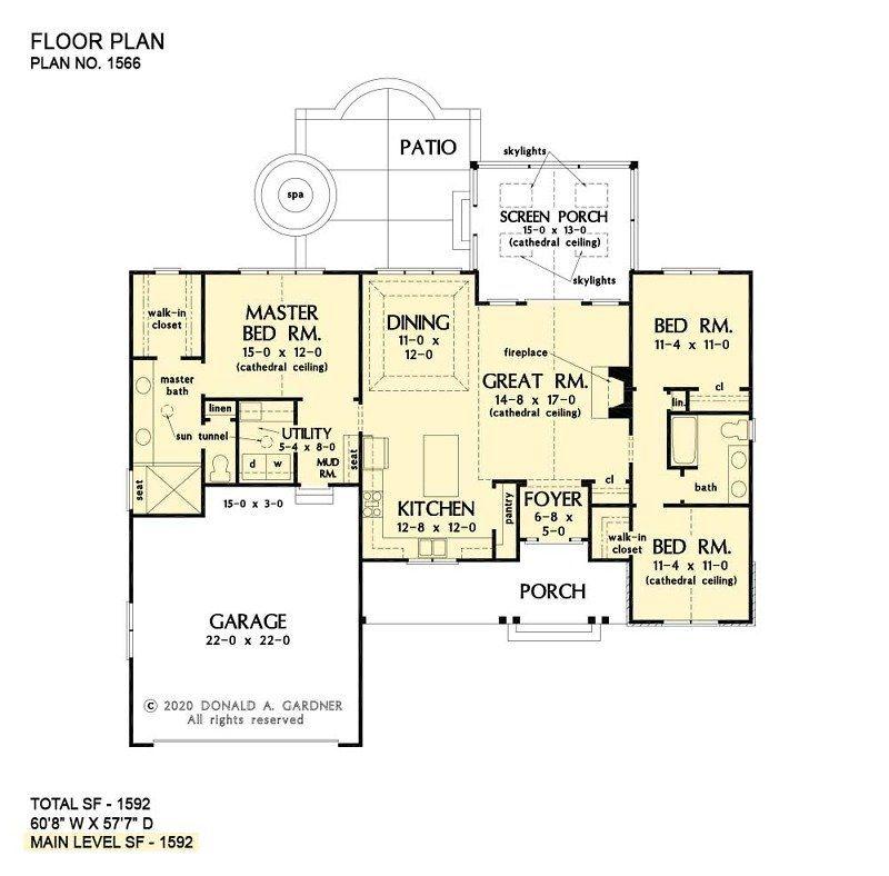 House Plan 1566 ThreeBedroom Cottage in 2020 Basement