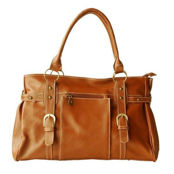 [Revival Mode] Brown Double Handle Leatherette Satchel Hobo Handbag Shoulder Strap