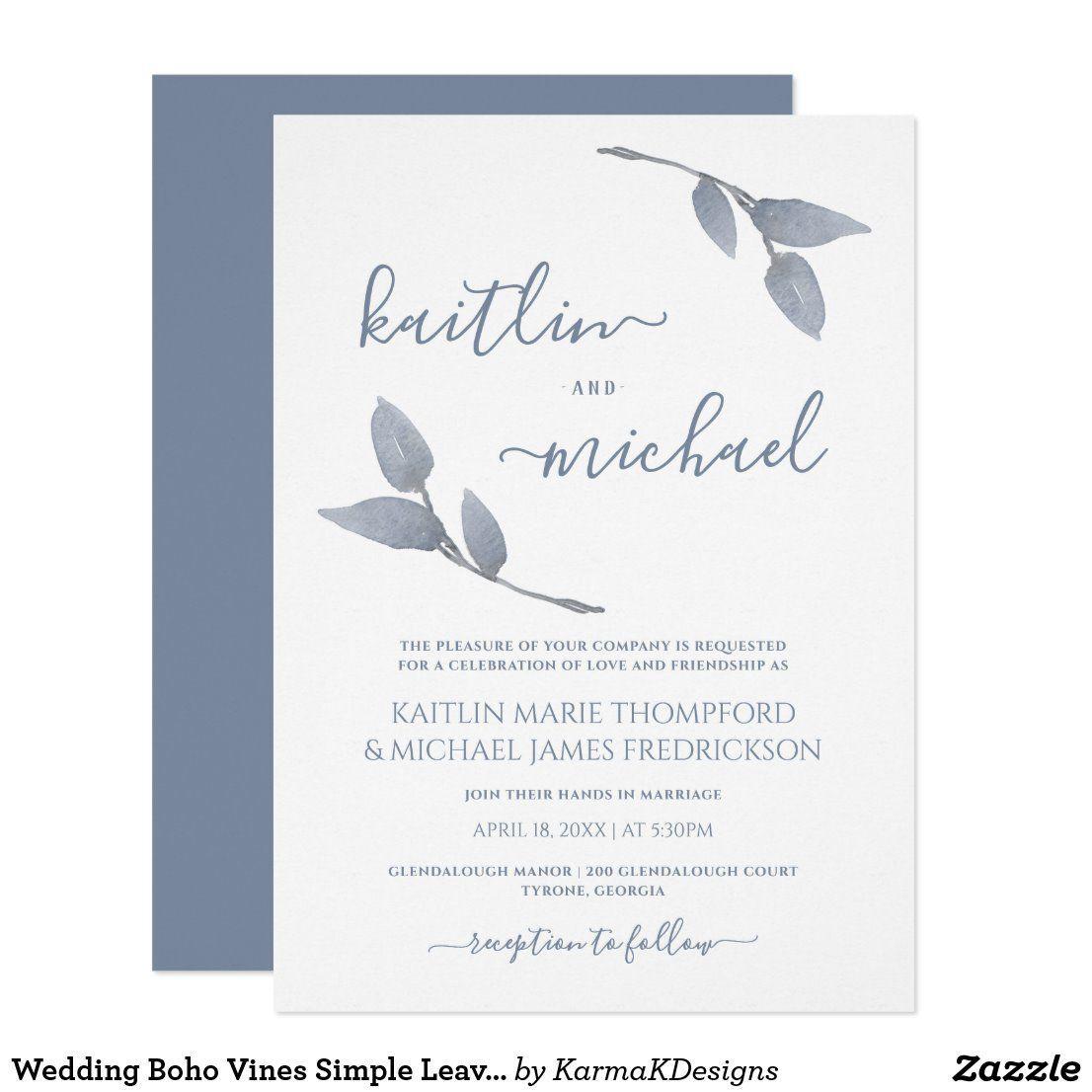 Wedding Boho Vines Simple Leaves Dusty Blue Invitation  Wedding Boho Vines Simple Leaves Dusty Blue Invitation