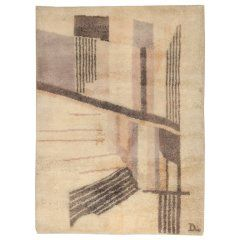 French Deco Rug Signed Lower Right Corner