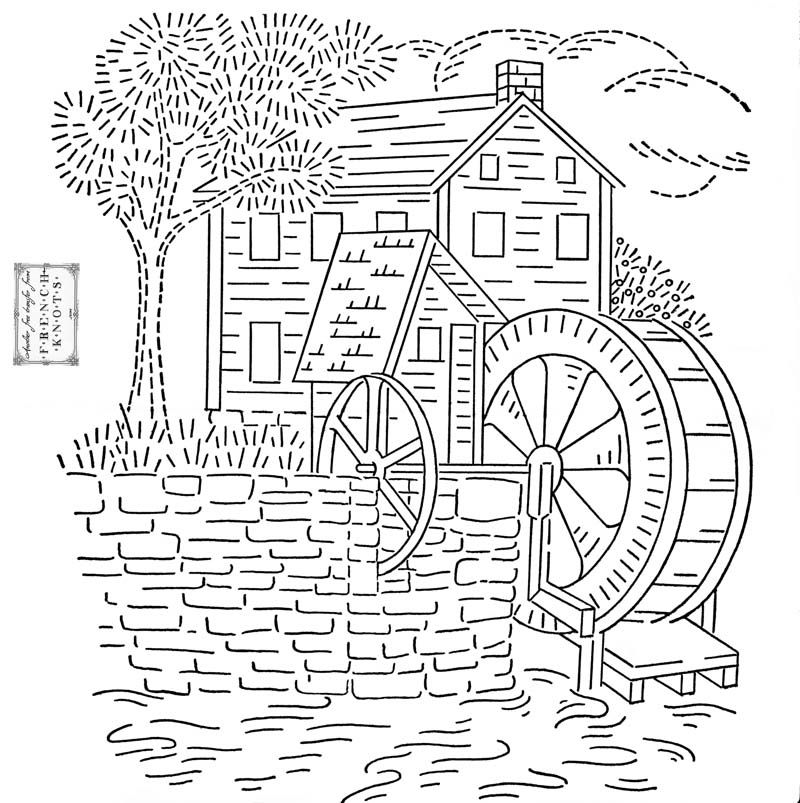 Free Old Mill House Embroidery Transfer Pattern Embroidery