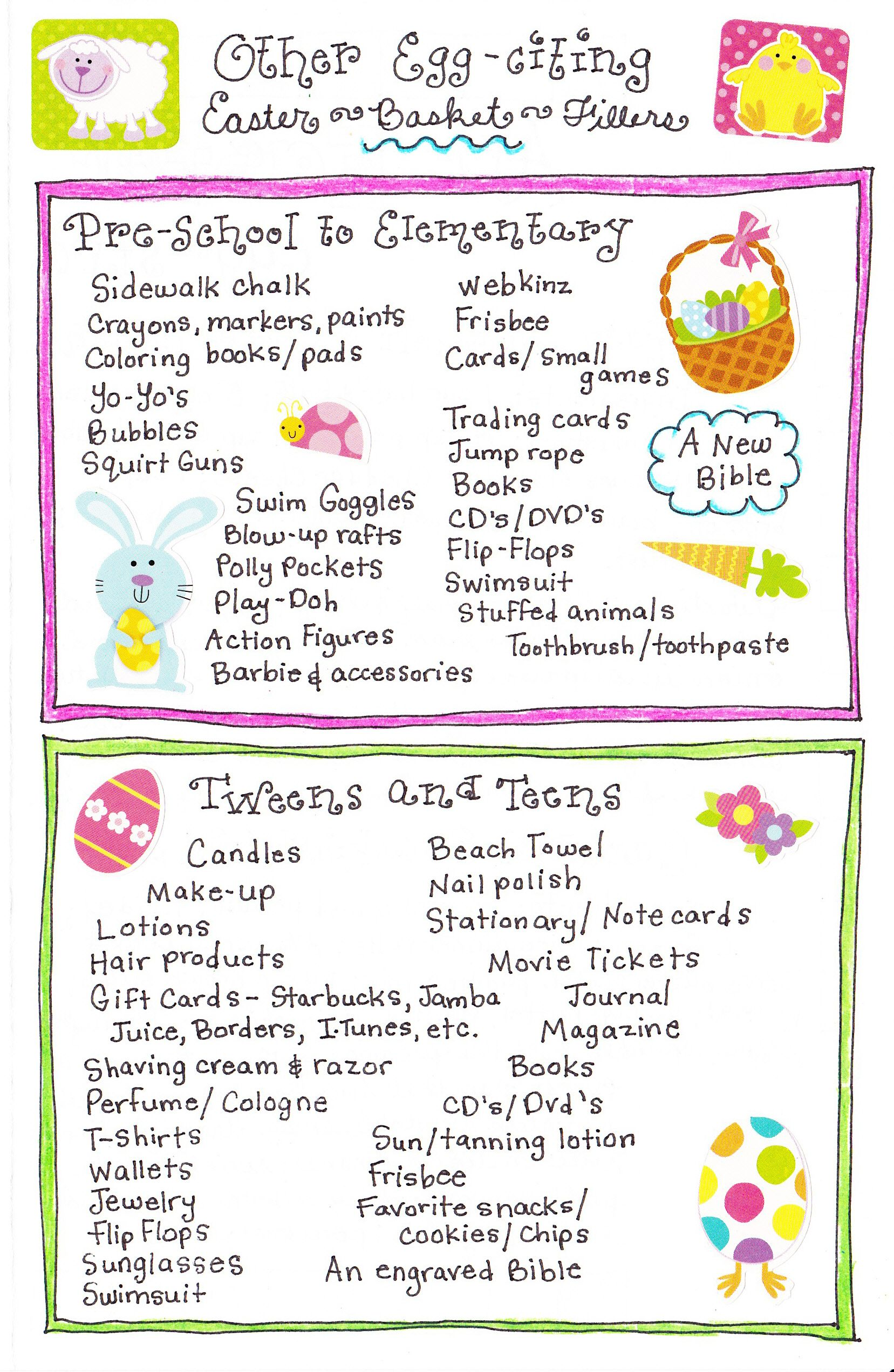 Easter basket filler ideas basket ideas easter baskets and easter easter basket filler ideas prek and elementary list and tweens and teens list negle Choice Image