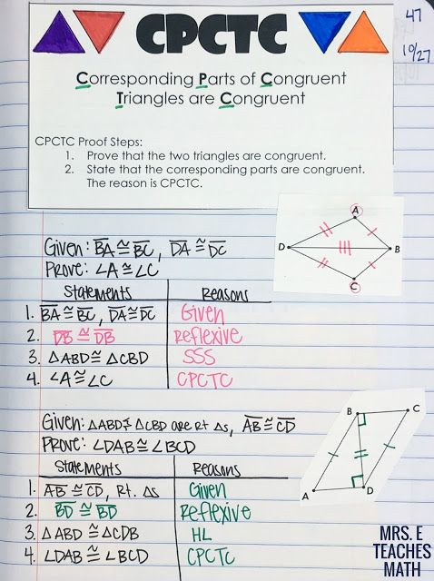Cpctc Interactive Notebook Page For Congruent Triangles Unit In Geometry Congruent Triangles Basic Math Skills Math Interactive Notebook Congruence worksheets 8th grade