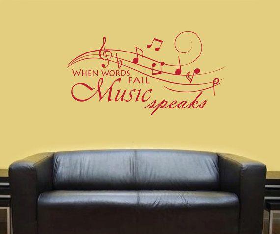 MUSIC SPEAKS Vinyl Wall Art Music Wall Art Music Room by Vinyl4U ...