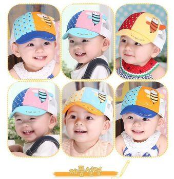 2015 Newborn Korean Sun Visor Lovely Baby Cap Head Cap/Hat/ Children Hat Baby Peaked Cap Cute Bee Dot Baseball Free Shipping