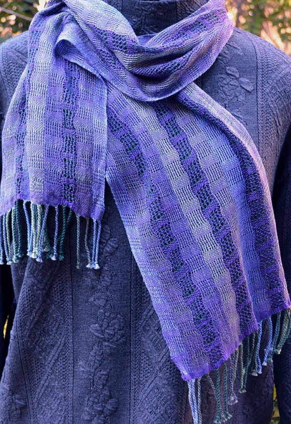 Handwoven lightweight lacy scarf in cool blues, greens and purple, leno lace gauze weave