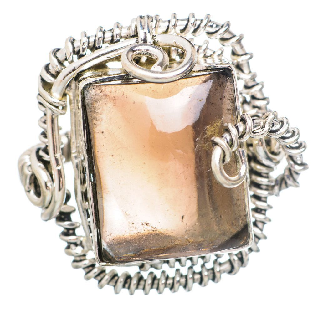 Large Smoky Quartz 925 Sterling Silver Ring Size 8 RING753493