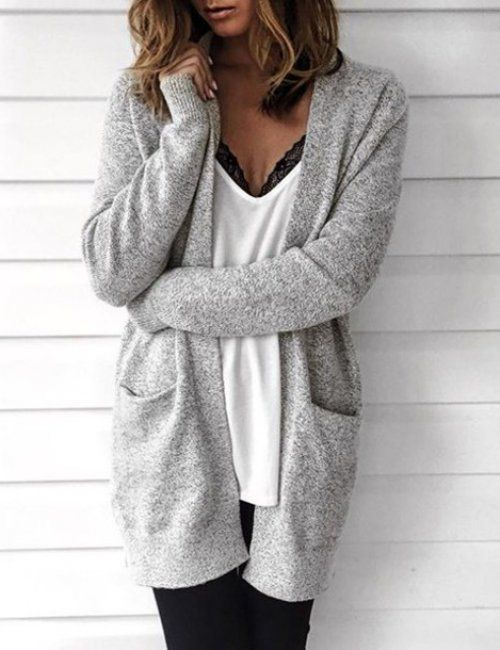 8f0ae99cae6 This cosy warm long gray cardigan looks great with skinnies and a slightly  exposed lingerie bra! Gorgeous