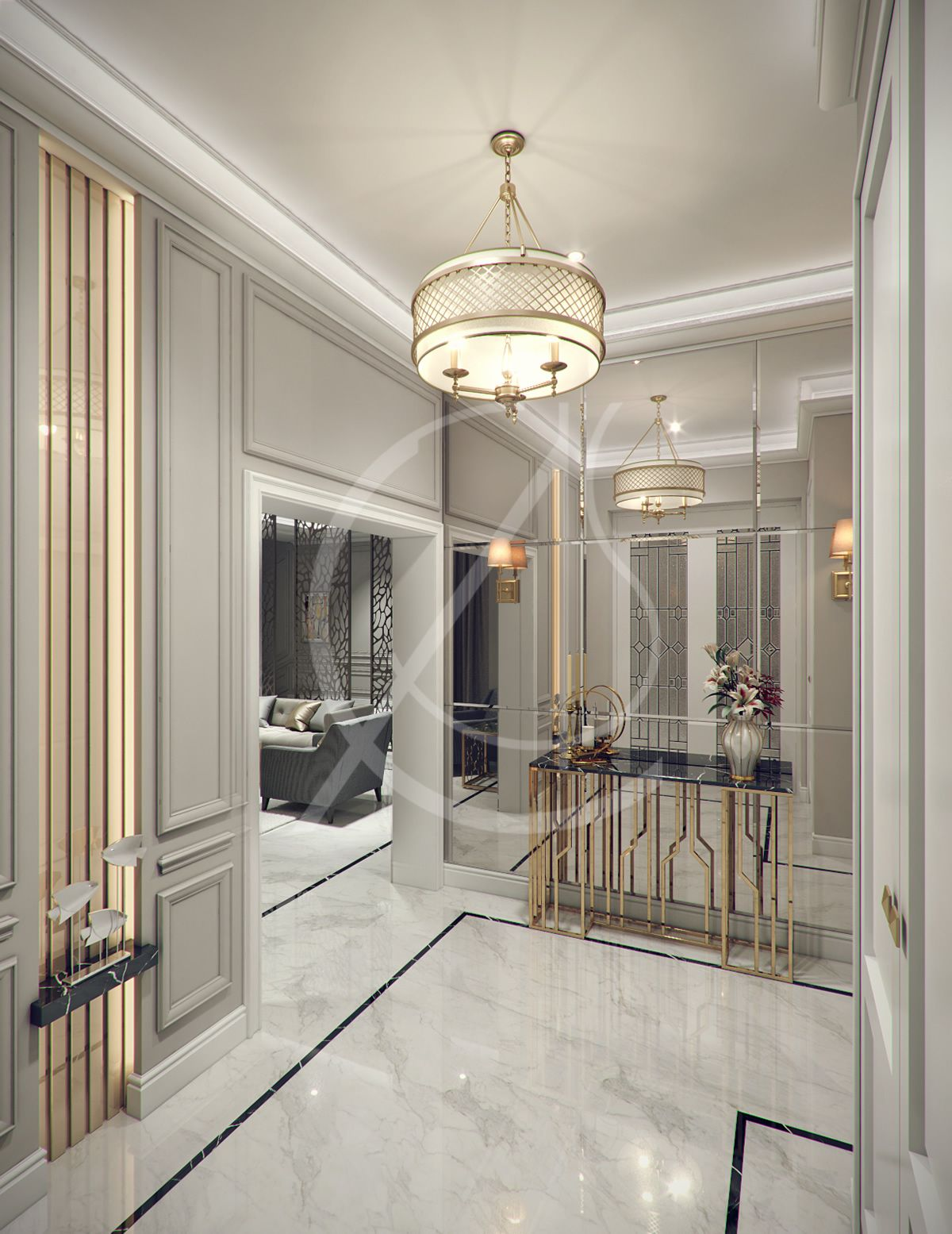 Modern Classic Villa Interior Design Riyadh Saudi Arabia Marble Floor Panel Walls And